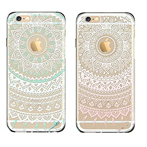 EVERMARKET(TM) 2 Pack of iPhone 5C TPU Case, Flower Floral Beautiful Pattern Soft Rubber TPU Case Cover and 1 Stylus Pen for Apple iPhone 5C (Mint&Pink Mandala (Pink Iphone 5c Phone Case)