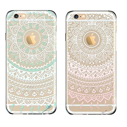 EVERMARKET(TM) iPhone SE/5/5S TPU Case, Flower Floral Beautiful Pattern Soft Rubber TPU Case Cover and 1 Stylus Pen for Apple iPhone SE and 5/5S (Mint&Pink Mandala - Case Stylus Phone Clear