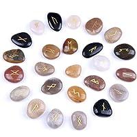 Rose Quartz Rune Stones Set Engraved Symbol with a Velvet Pouch