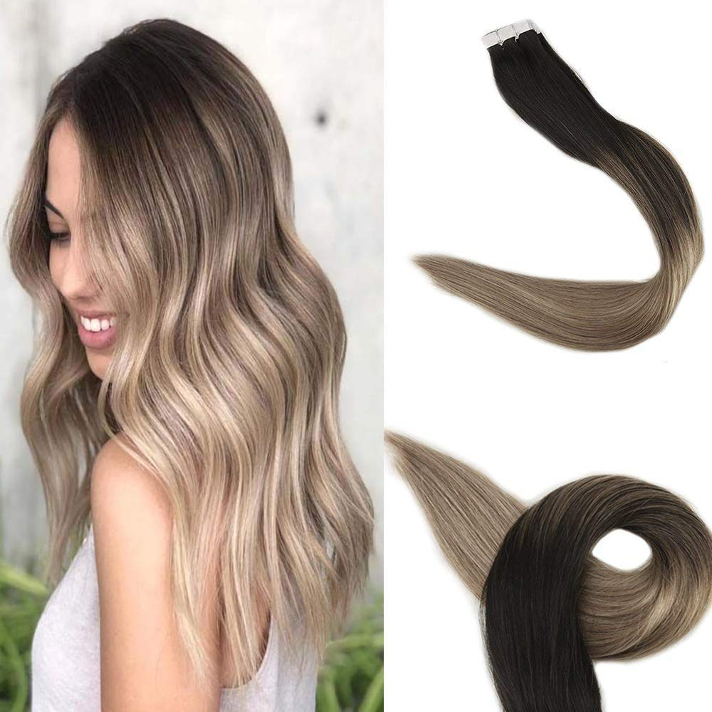 Fshine Ombre Tape In Hair Extensions 12 Inch Human Hair Color #1B Fading To #8 And #22 Blonde Highlighted Tape Remy Hair Extensions Real Hair Balayage Glue On Hair Thick Ends 30 Gram Seamless Pu Hair by Fshine