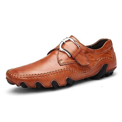 Hombres Mocasines Moda Suave Mocasines Alta Calidad Genuina Zapatos de Cuero Hombres Pisos: Amazon.es: Zapatos y complementos