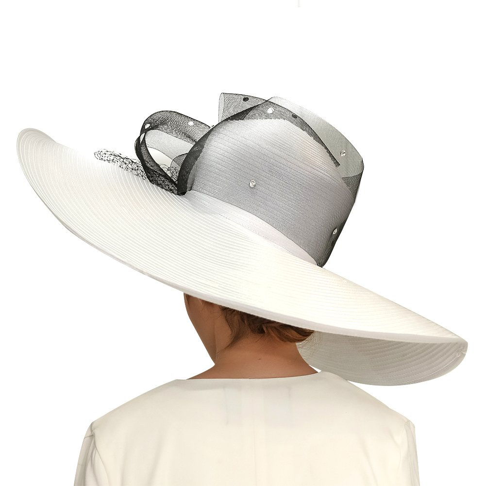 KUEENI Women Hats Church Hats Exaggeration Designer Fashion Lady Wide Brim Hats (White) by KUEENI (Image #4)