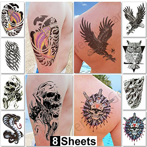8 Sheets Temporary Tattoos For Guys Men Boys & Teens - Fake Large Stickers For Arms Shoulders Chest & Back & Legs Eagle Koi Fish Skull Gun Owl Tattoos For Halloween - Realistic Waterproof Transfers