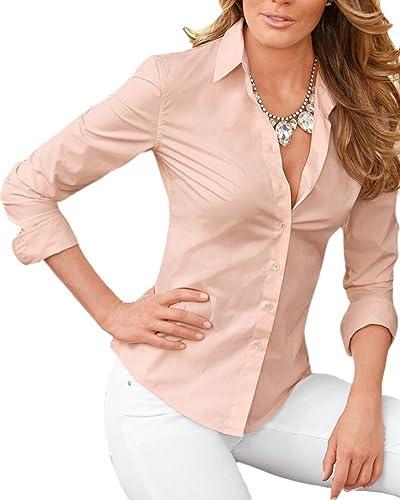 SaiDeng Mujer Básico Color Puro Manga Larga Slim Fit Solapa Camisa Pink L