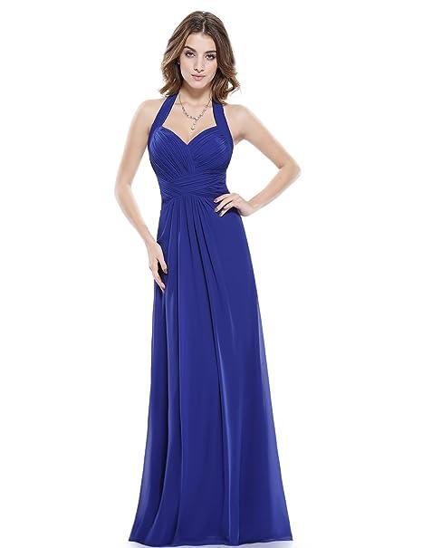 Ever-Pretty Hálter Vestido Largo de Noche para Mujer de Ceremonia Boda Azul Zafiro 36