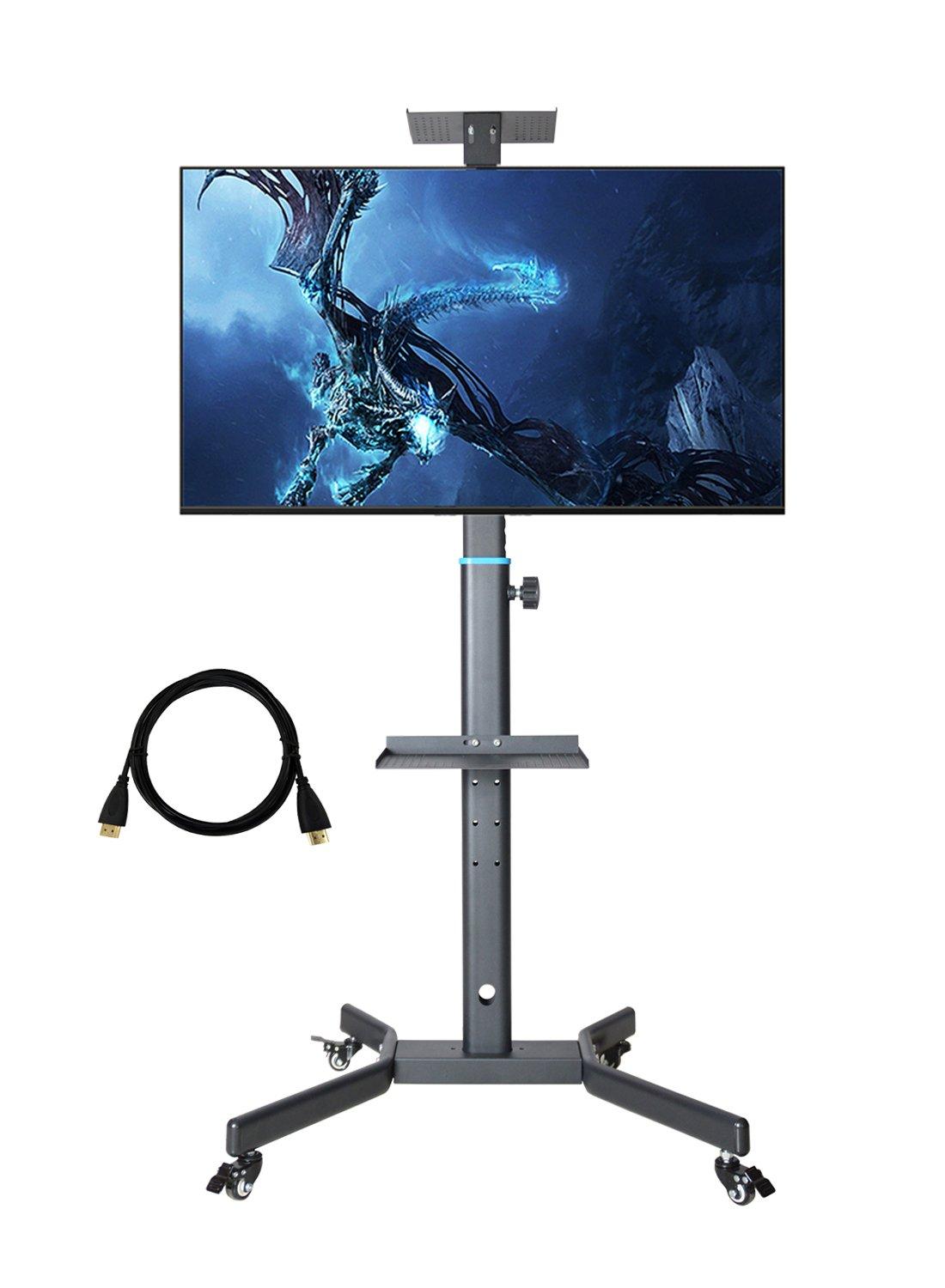 CNYF PTS008 Mobile TV Cart for LCD LED Plasma Flat Screen Panel Trolley Floor Stand with Locking Wheels | Fits 32'' to 55''