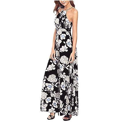 ef25711c52 TLoowy Womens Summer Boho Vintage Floral Print Halter Neck Backless High  Waist Long Evening Party Maxi