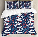LALADecor Narwhal 4 Pieces Duvet Cover Twin Bedding Set (1 Duvet Cover+1 Flat Sheet+2 Pillow Shams) Arctic Ocean Fauna with School of Fish Narwhal and Jellyfish Sketch Royal Blue Coral Baby Blue