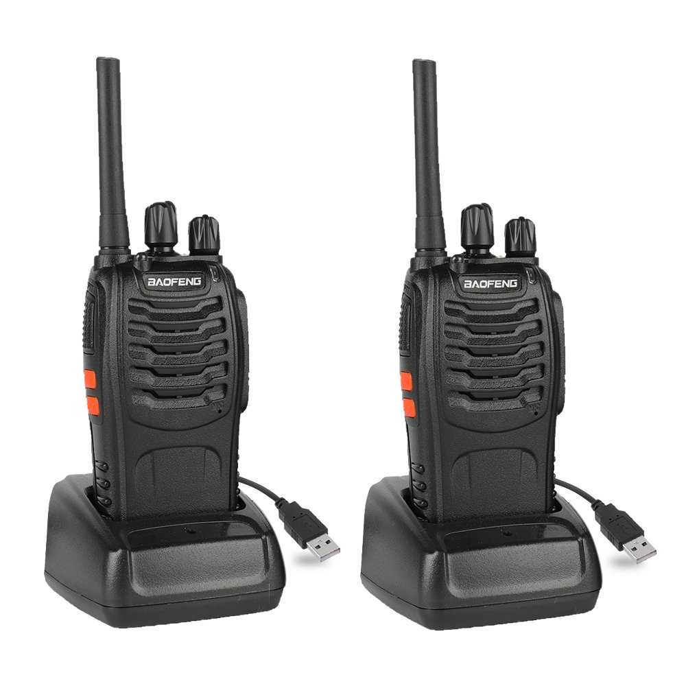 Baofeng BF-88A FRS Two Way Radio (Upgrade Version of BF-888S) 16 Channels Handheld Rechargeable License Free Walkie Talkies with USB Charger + Earpiece, 2pcs
