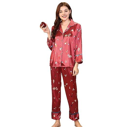 AIBAB Seda Pijamas De Mujer Pantalon Manga Larga Chándal ...