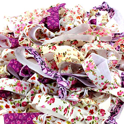Midi Ribbon 100 Packs Patterns Hair Ties-Floral Collection-No Crease Elastic Ribbon Ponytail Holders Knotted Fold Over Assorted Hair Bands