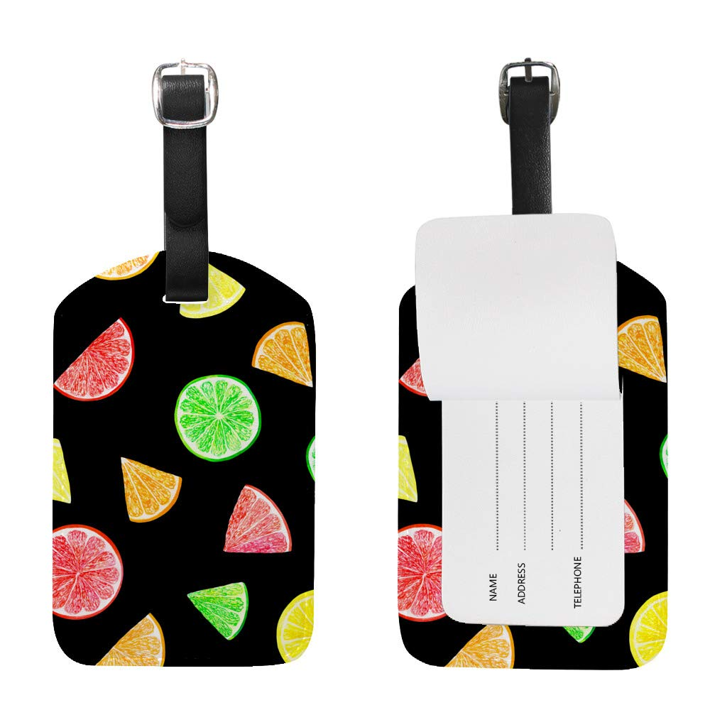 2pcs Luggage Tags PU Leather Tags Suitcase Labels Travel Bag With Privacy Cover Watercolor Citrus Grapefruit Lime Orange Creative Pattern Printing