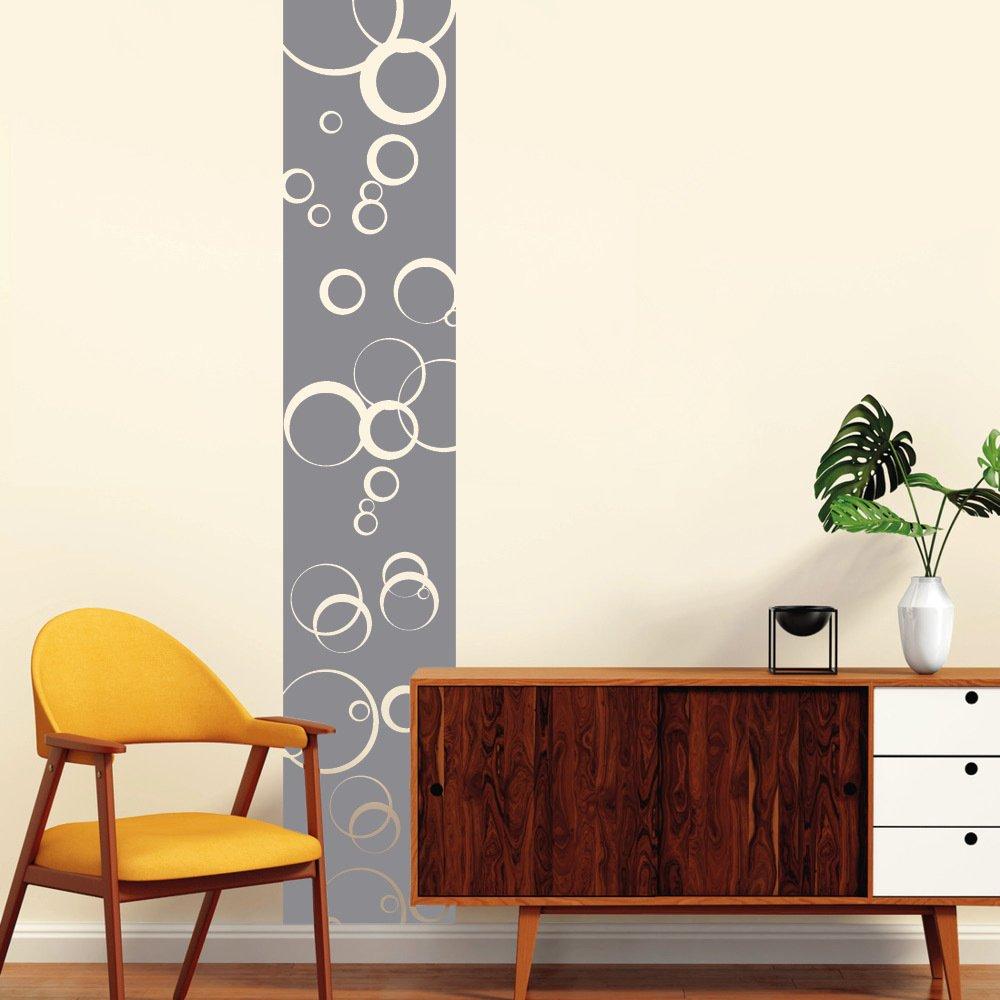 Wandtattoo Loft Wandaufkleber Bordüre mit Kreisen – Wandtattoo zur tollen Dekoration   54 Farben   4 Größen  rauhfasergeeignet  wiederablösbar   dunkelrot   240 cm lang x 36 cm breit