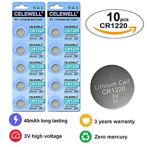 CELEWELL CR1220 3V Lithium Battery 40mAh for Fairy Pearls/LED Light/Bracelet/Flashlight/Clock with 3 Years (Top Ten Wholesale Review)