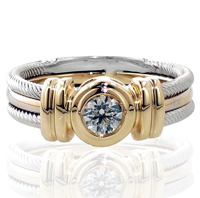Amazon Com 0 25 Ct Tw Two Tone Bezel Set Diamond Anniversary Wedding Ring In 14k Gold Jewelry