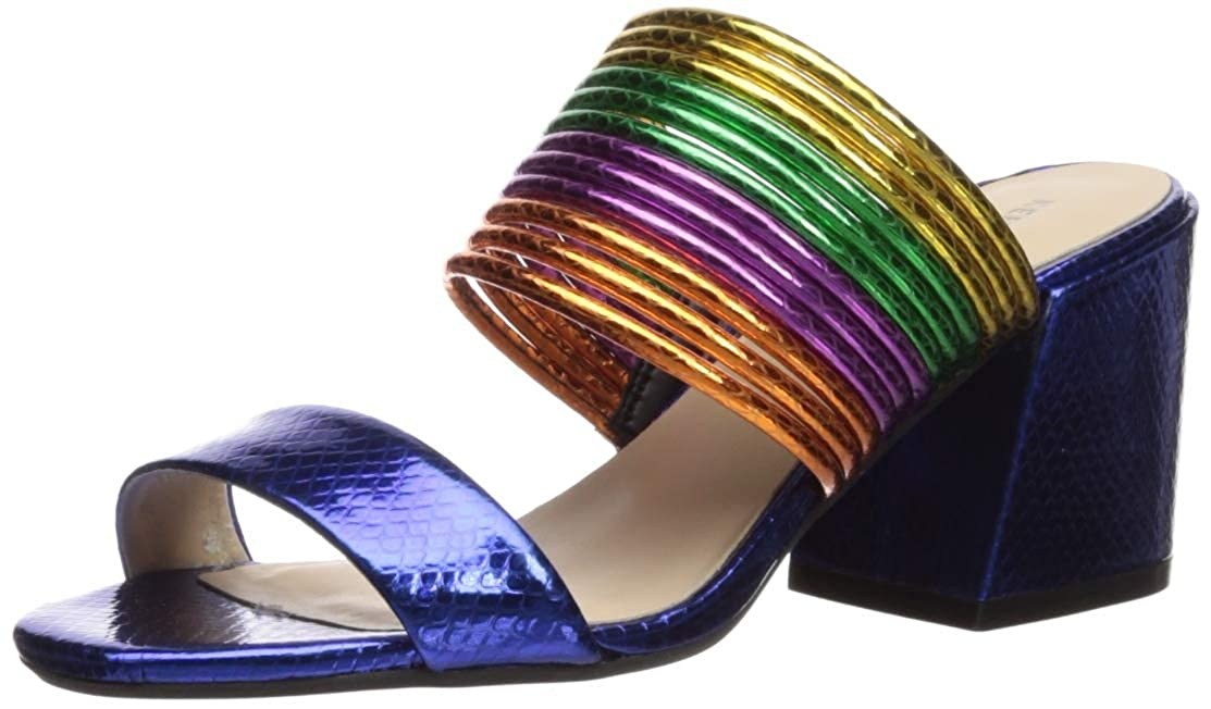 bluee Multi Kenneth Cole New York Womens Hannon Strappy Mule Heeled Sandal