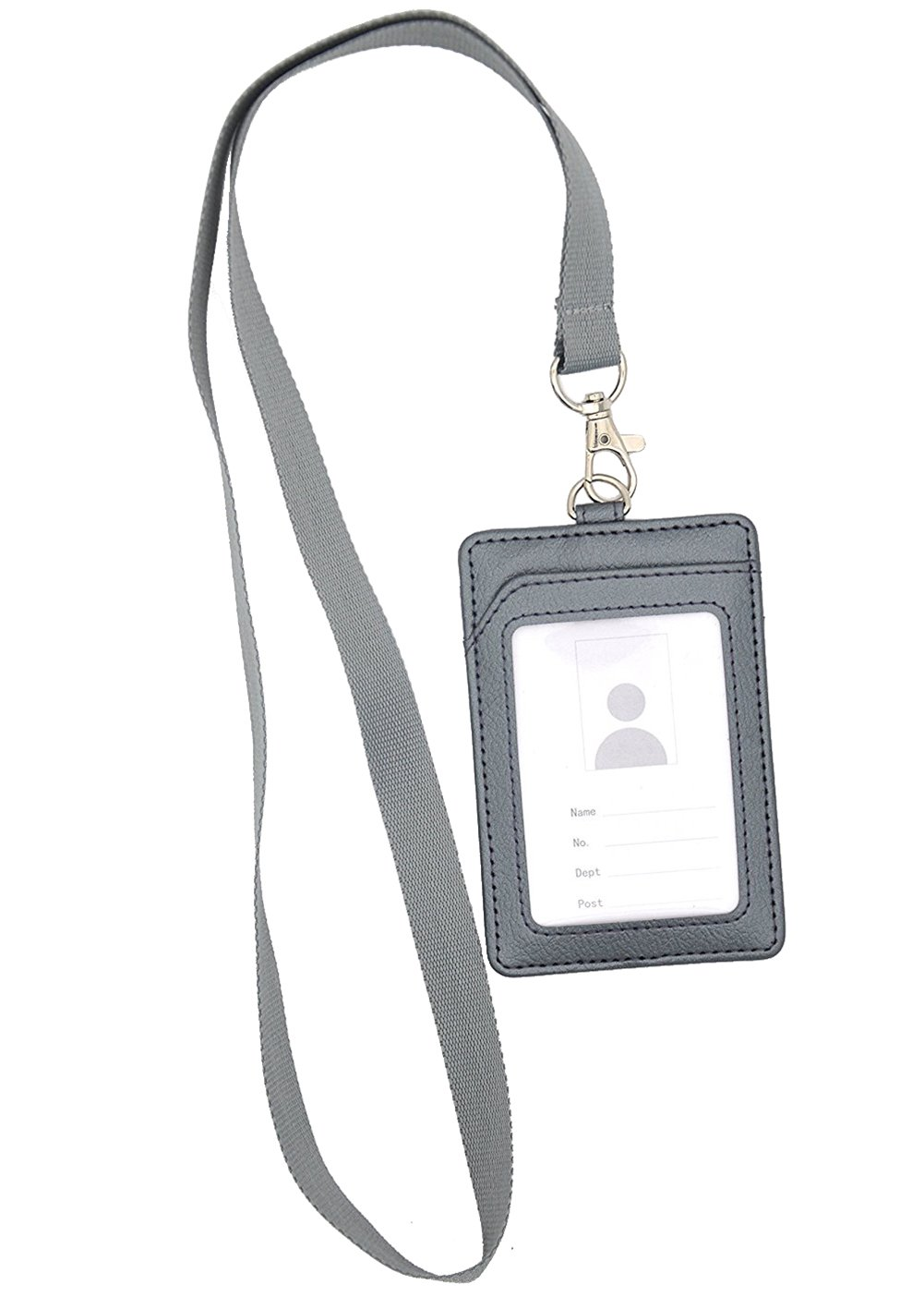 Portabadge,Bird Fiy Vertical Style PU Leather ID Badge Holder and Neck Lanyard argento