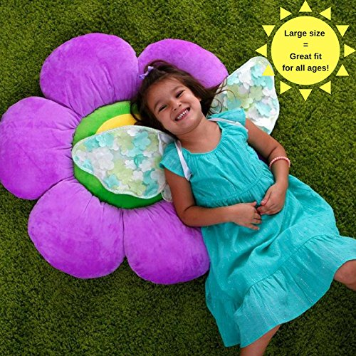 Flower Pillow to be Used as Floor Pillow or Decorative Pillow - Adorable Daisy Flower Shape and Color Purple - Large, Soft and Cozy Pillow for Floor Sitting, Playtents, Girls Bedroom Decor by Floor Bloom (Image #4)