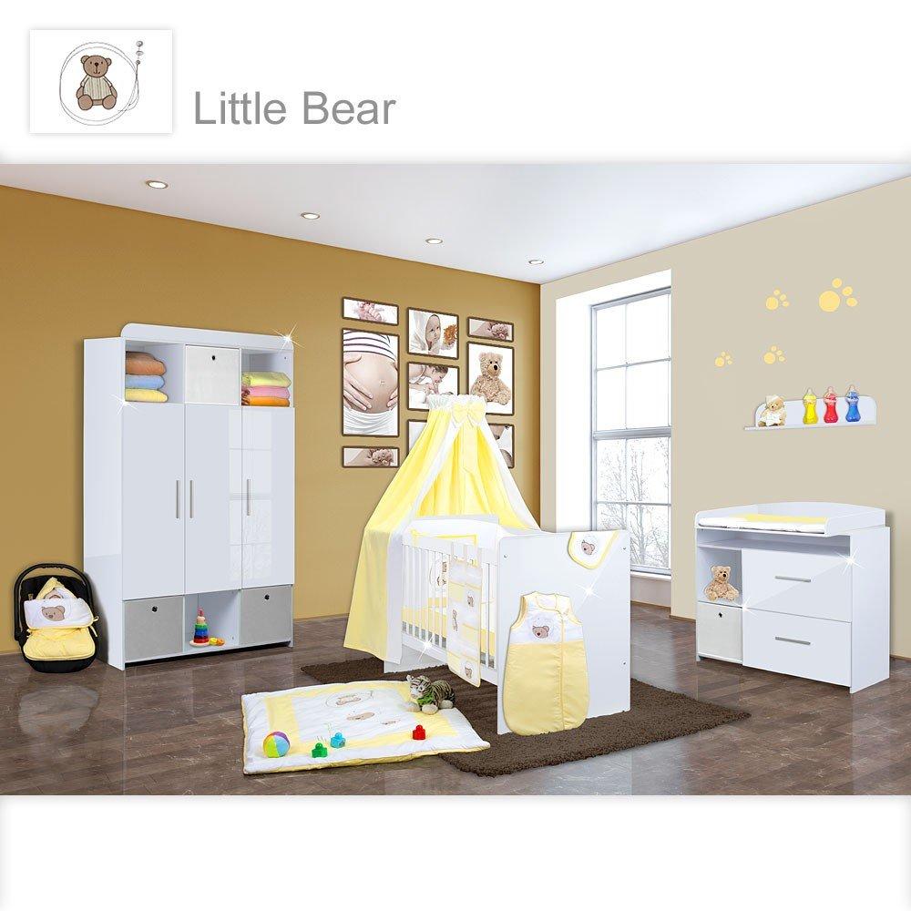 Babyzimmer Mexx in Weiss Hochglanz 11 tlg. mit 3 türigem Kl. + Little Bear Gelb