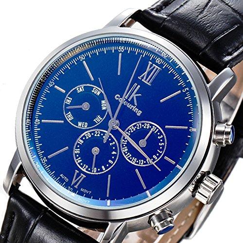 Gute Luxury Steampunk Bling Automatic Mechanical Wristwatch Golden Bezel Minimalist Stainless Steel (Blue-Black)