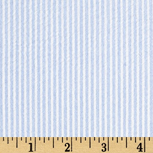 Richland Textiles Cotton Seersucker Stripe Blue/White Fabric By The Yard (Seersucker Fabric Stripe)