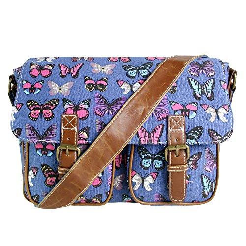 Miss Lulu–Bolso bandolera para niñas, diseño de mariposa Satchel Navy