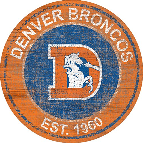(Denver Broncos Team Logo 24 inch Round Distressed Vintage Sign for Football Sports Fan Wall Decor CHOOSE YOUR TEAM!!! (Broncos))