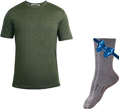Merino.tech - Camiseta térmica de lana merina 100% orgánica ligera para hombre + calcetines de lana de senderismo - Verde - Large: Amazon.es: Ropa y accesorios