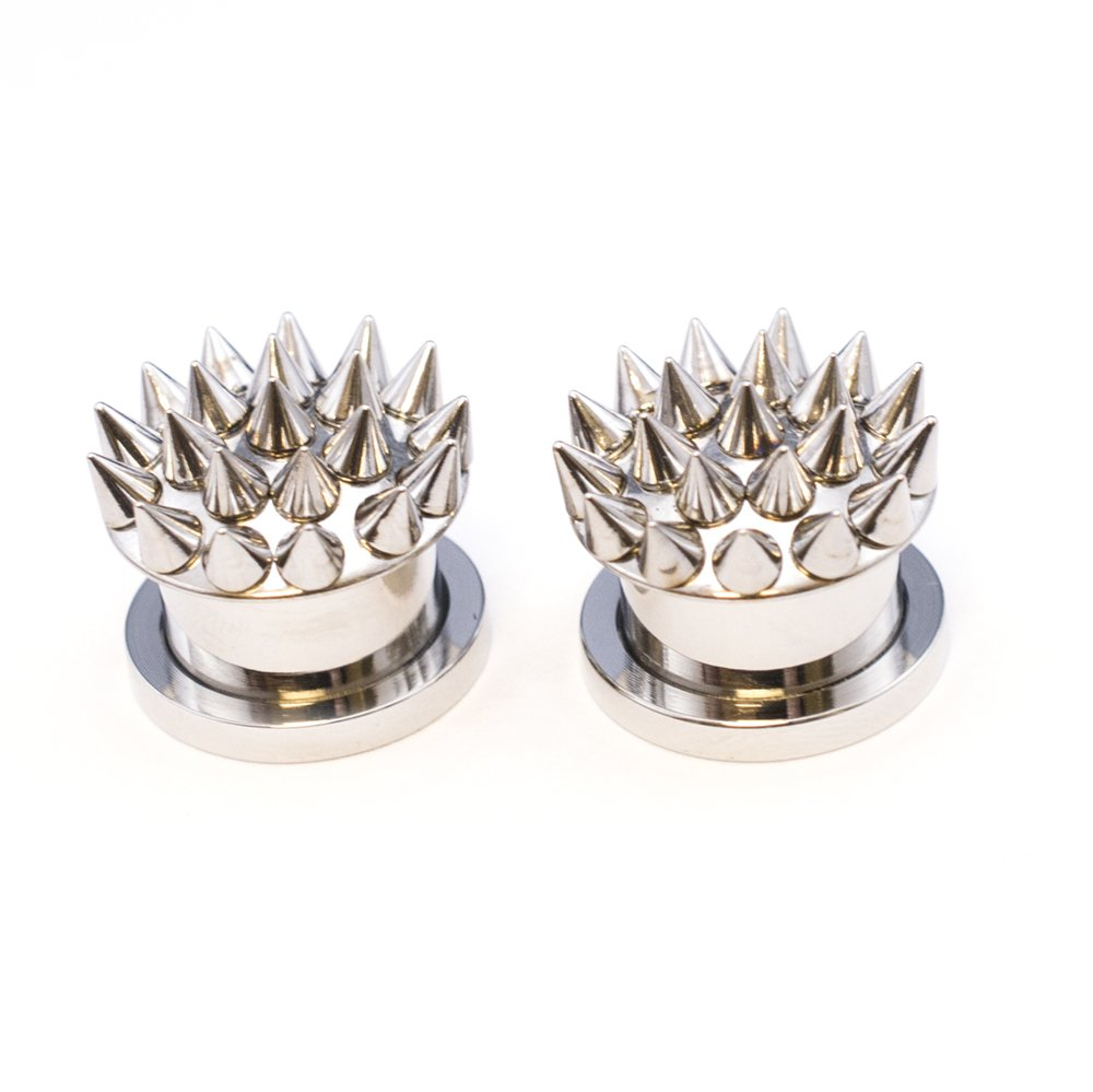 Pair of Multi Spikes 316L Surgical Steel Plugs with Screw-Fit Closure - 5 Sizes (08mm - 0g) BodyJewelryOnline PSZ23-08