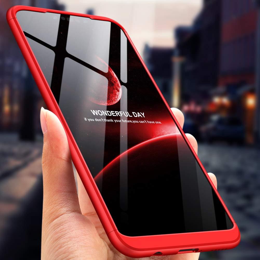 Compatible Samsung A40 Coque de Protection Antichoc 3 en 1 Ultra Mince Anti-Rayures Protection 360 degr/és 360 Coin Int/égral Full Protection+Film Protection en Verre tremp/é /écran-Rouge