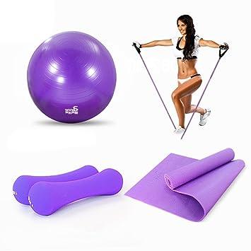 Yoga Juego Lila 1 Yoga estera de PVC, 1 pelota de yoga de PVC,