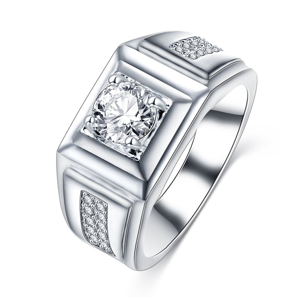 Evertrust (TM) Men's Ring Jewelry Platinum Plated Beauty Crystal Wedding Men Ring With CZ Stone Male Cool Party Jewelry CRI0406-B