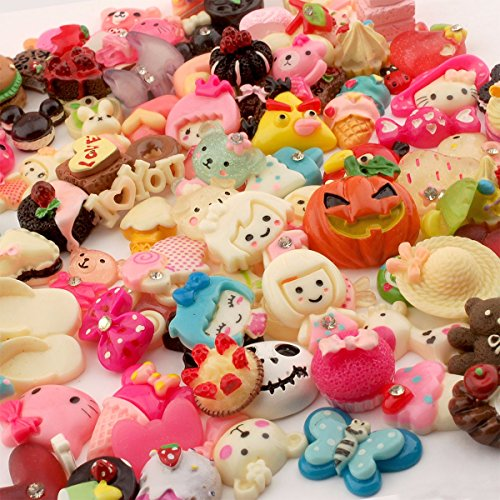 Summer-Ray 100 Mixed Lot Resin Embellishment Value Pack for Hair Clips, Scrapbooking