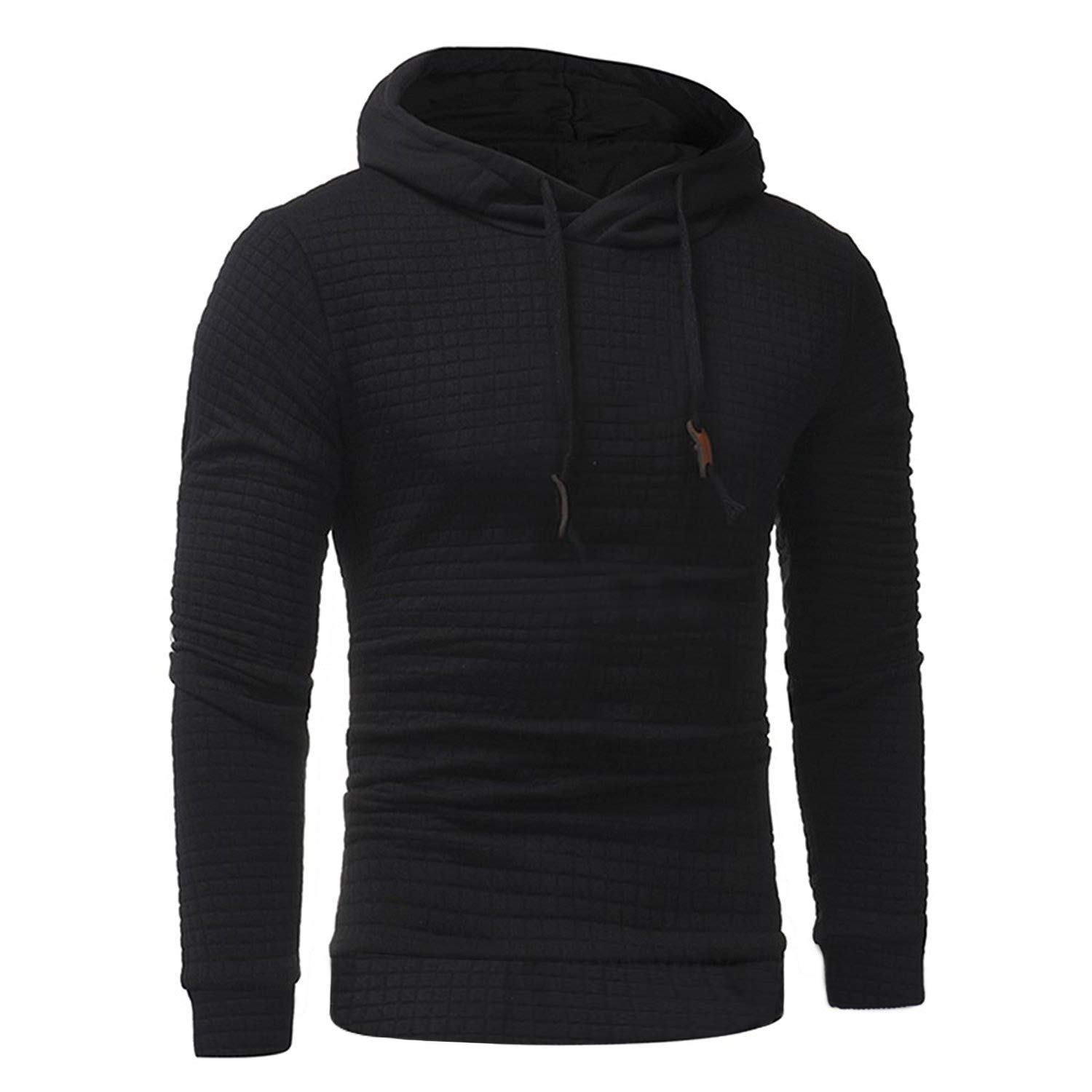 Chenghe Mens Casual Solid Color Hooded Sweatshirts Long Sleeves Pullover Hoodies