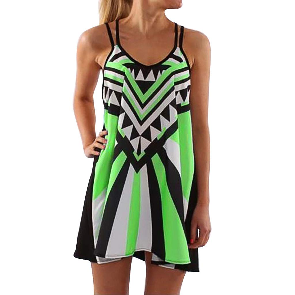2019 Summer Sexy Dress for Women Plus Size O-Neck Camisole Sleeveless Printing Easy Mini Dresses S-5XL (Green, XL)
