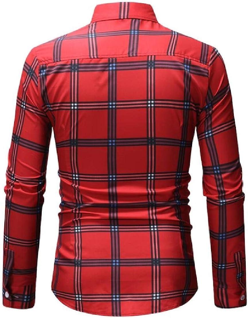 XTX Men Button Down Checked Formal Long Sleeve Stylish Dress Shirts