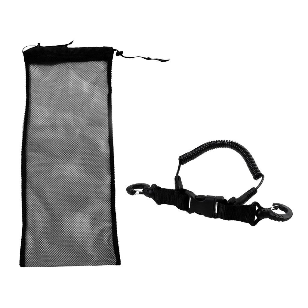 Sharplace Cinturino Cordino in Nylon Spiralato con Fibbia a Sgancio Rapido per Immersioni Subacquee Fotografia + Saccho Mesh Netto Maglia Bag per Sport Acquatici Spiaggia