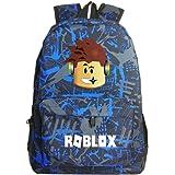 Kids Roblox Backpack Student Bookbag Laptop Bag Travel Computer Bag for Boys Girls Teens Game Fans Gifts (E)