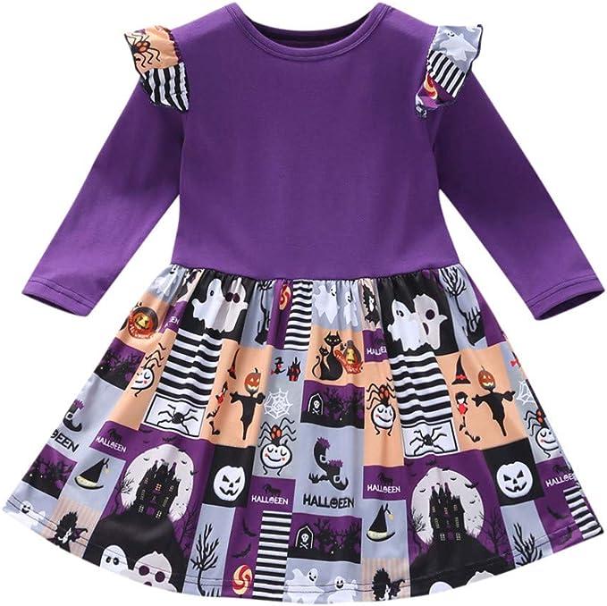 Vestito Costume Halloween Bambina Completo Bambina Halloween Zucca Vestito Pagliaccetti da Bimba Halloween Abbigliamento Bambina Cosplay Costume Ragazza Abito Carnevale Tutine E Body