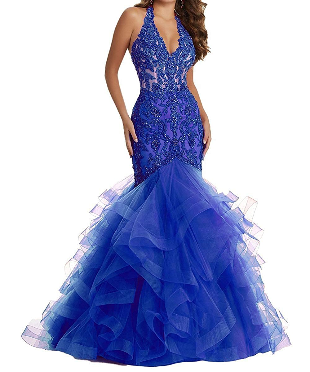 Royal bluee YMSHA Women's Long Halter Lace Beads Formal Prom Dress Long Mermaid V Neck Evening Party Gown 17PM