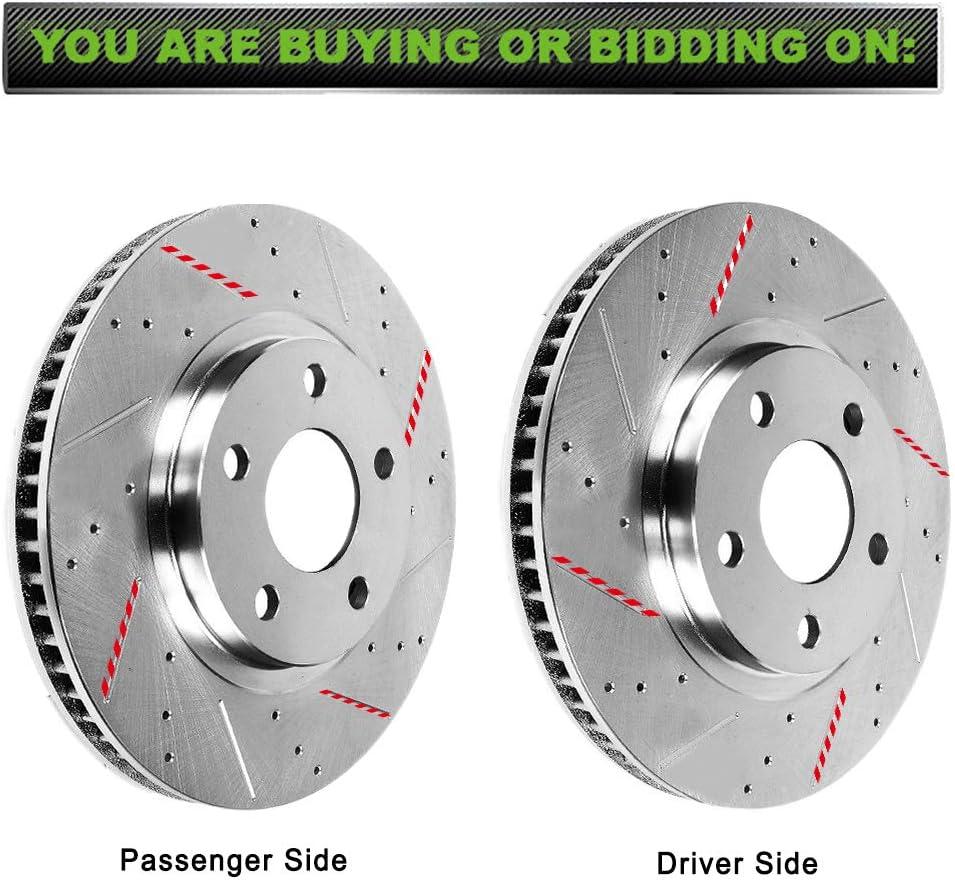 SCITOO 2pcs Front Drilled Slotted Discs Brake Rotors Brakes Kit fit for 2006 2007 2008 2009 2010 2011 2012 2013 2014 Honda Ridgeline