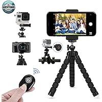 LONK Trípode para Celular, Mini Trípode Flexible con Bluetooth Control Remoto/Soporte para Celular/Adaptador Go Pro, Trípode para iPhone 11/X/XS, Samsung 10+/S9, Huawei P30, GoPro 7/6, Cámara DSLR.