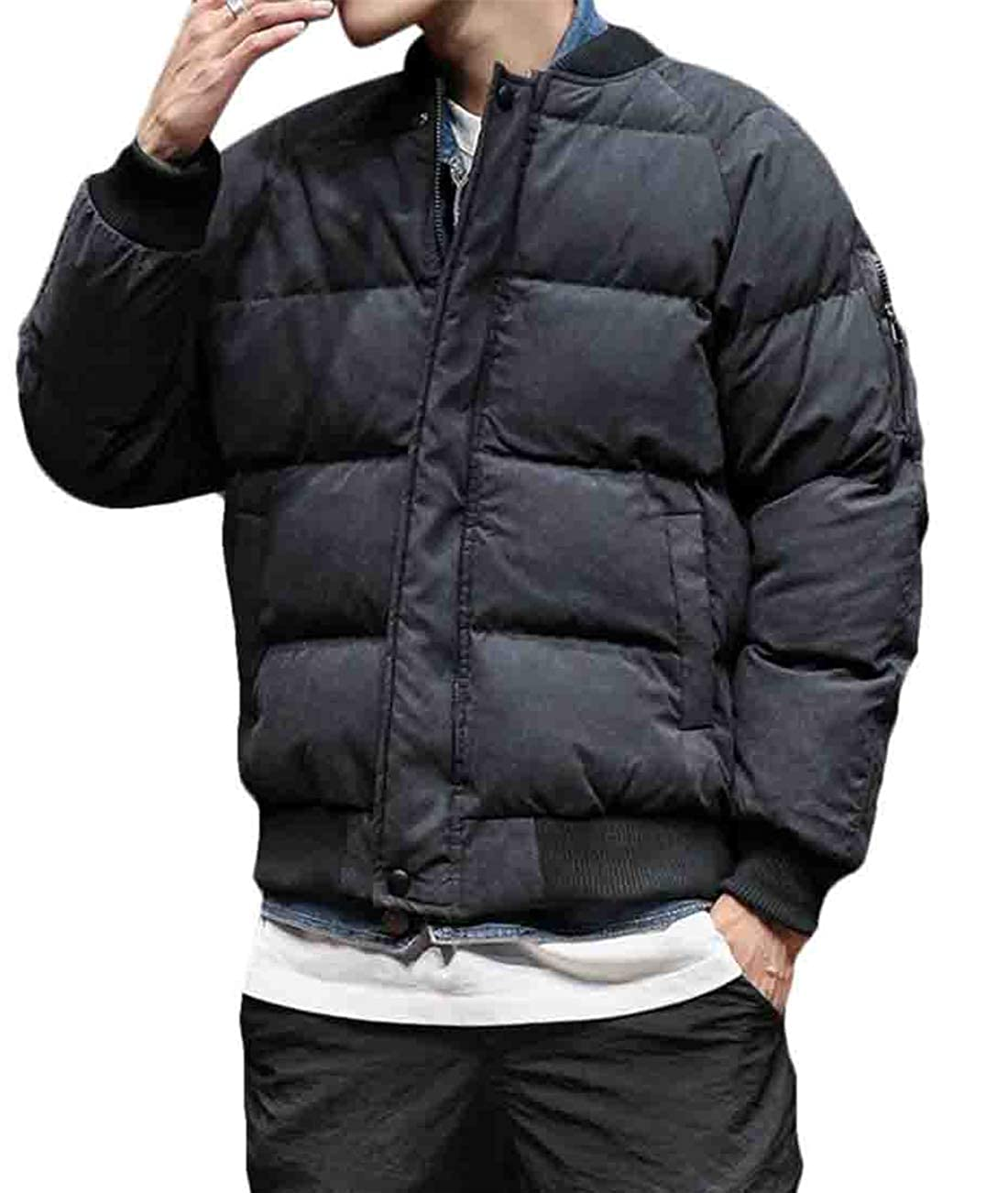 Hurrg Men Winter Thicken Hooded Flight Quilted Coat Warm Bomber Down Puffer Jacket