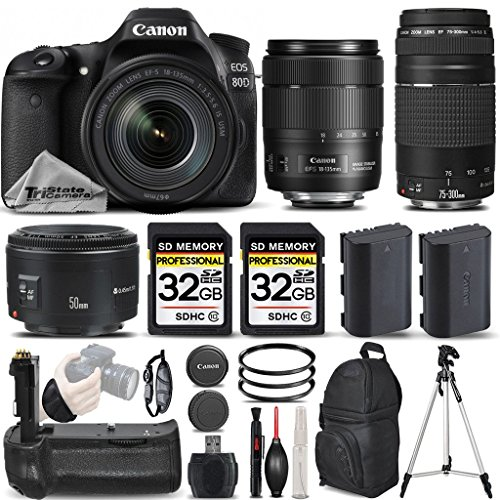 Canon-EOS-80D-Wi-Fi-Full-HD-1080P-Digital-SLR-Camera-Canon-18-135mm-IS-USM-Lens-Canon-75-300mm-III-Lens-Canon-50mm-18-II-Lens-All-Original-Accessories-Included-International-Version
