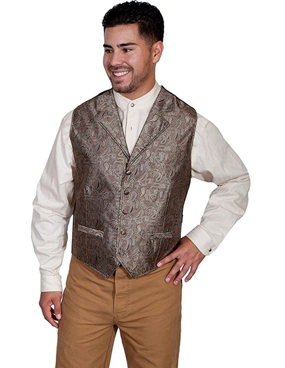 1900s Edwardian Men's Suits and Coats Scully Western Vest Mens Lined Sleeveless Paisley Button RW238 $50.90 AT vintagedancer.com