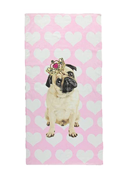 849d056b746b0e Pug Girls Or Ladies Pink Beach Towel: Amazon.co.uk: Kitchen & Home