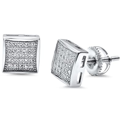 fe7a4d41b Amazon.com: 8mm Square Kite Earrings Screwback Men Women Unisex Hip Hop 925  Sterling Silver Round Pave Ice Simulated Cubic Zirconia: Jewelry