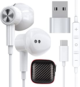 TITACUTE USB C Headphones Earbuds Setero Noise Cancelling Magnetic Wired Earphone with USB Type C to A Adapter for Samsung Galaxy S21 Ultra S20 FE Note 20 OnePlus 9 Pro 9 8T 8 iPad Pro Laptop Desktop