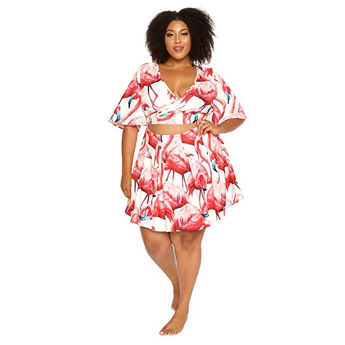 Astra Signature Women\'s Plus Size Flamingo Crop Top A-Line ...
