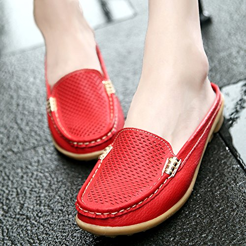 Loafer Moccasins Slip Casual Women Shoes Flats Mules On Red Leather Summer Gaatpot Uwvxgd8d